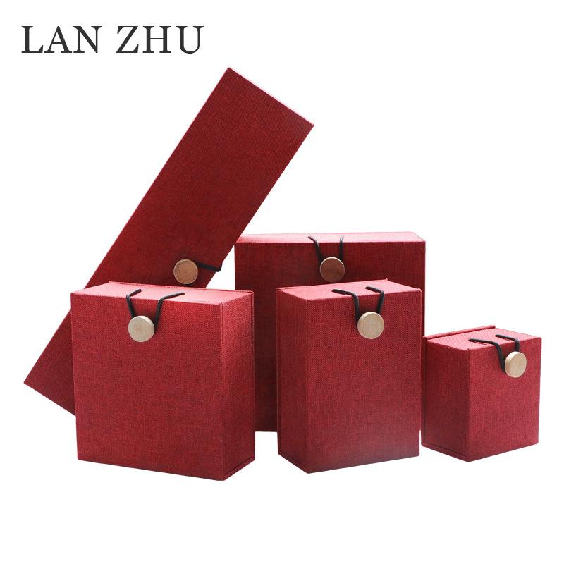 LANZHU Hộp quà tặng Nhà sản xuất bán buôn vải lanh khóa gỗ hộp đồ trang sức wenwan vòng tay hạt hạt