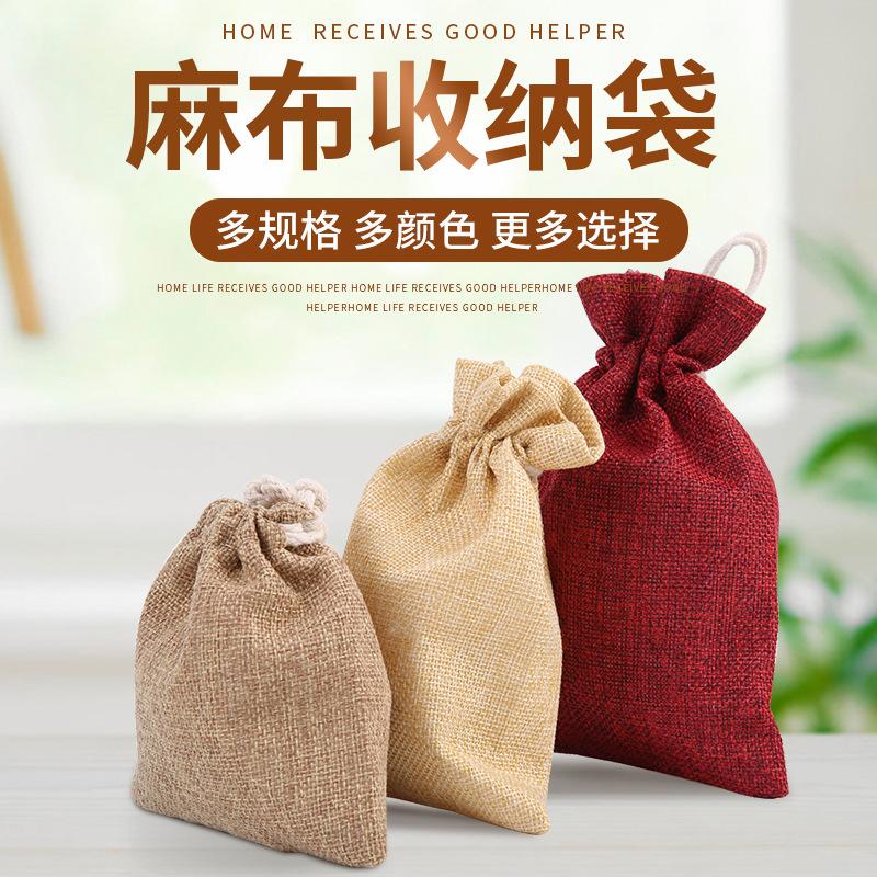 Túi đựng trang sức Tùy chỉnh bảo vệ môi trường túi vải bố, túi vải lanh dây rút, túi đay quà tặng