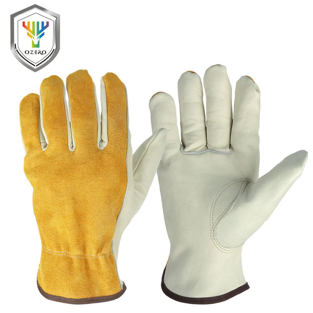 OZERO Găng tay bảo hộ Da bò bảo hộ lao động hai lớp găng tay bảo vệ an toàn sân vườn chống trơn trượ
