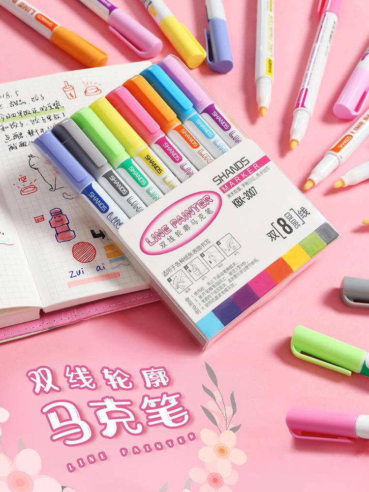 XIYU Bút dạ quang Đôi vạch phác thảo bút màu bút đánh dấu học sinh với bút đánh dấu 8 màu thiết lập