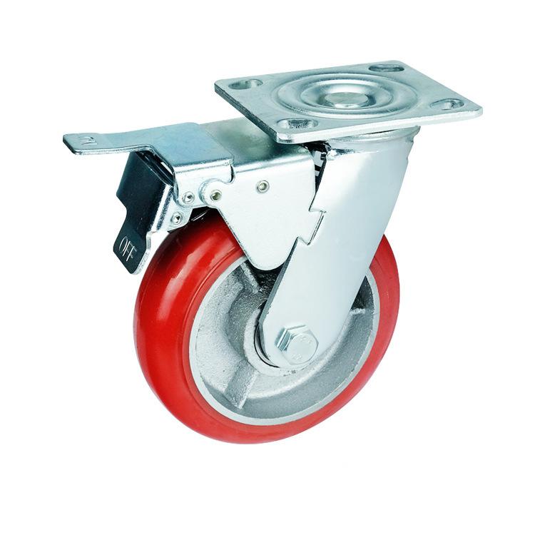 bánh xe đẩy(Bánh xe xoay) 6 inch siêu nặng caster polyurethane caster nhà máy phanh định hướng trực