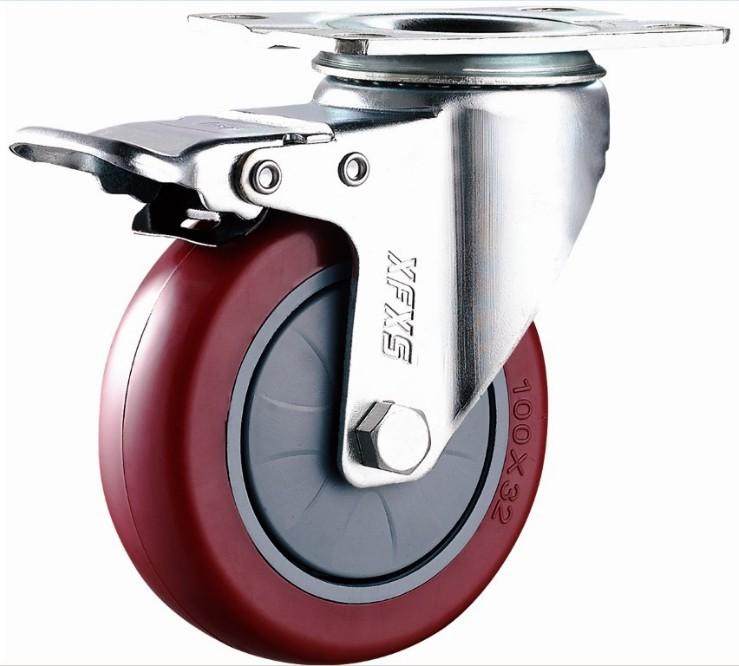 XFXS bánh xe đẩy(Bánh xe xoay) Vỏ bọc màu xám cỡ trung bình lưỡi lê PU đa năng phanh kép 2,5 inch 3