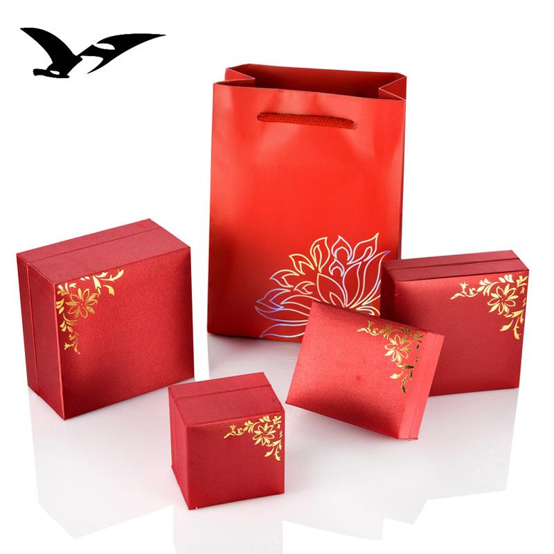 CHUANGHENGDA Hộp trang sức Hộp mặt dây sắt rèn, hộp trang sức, hộp vòng cổ, hộp màu đỏ, hộp bông tai
