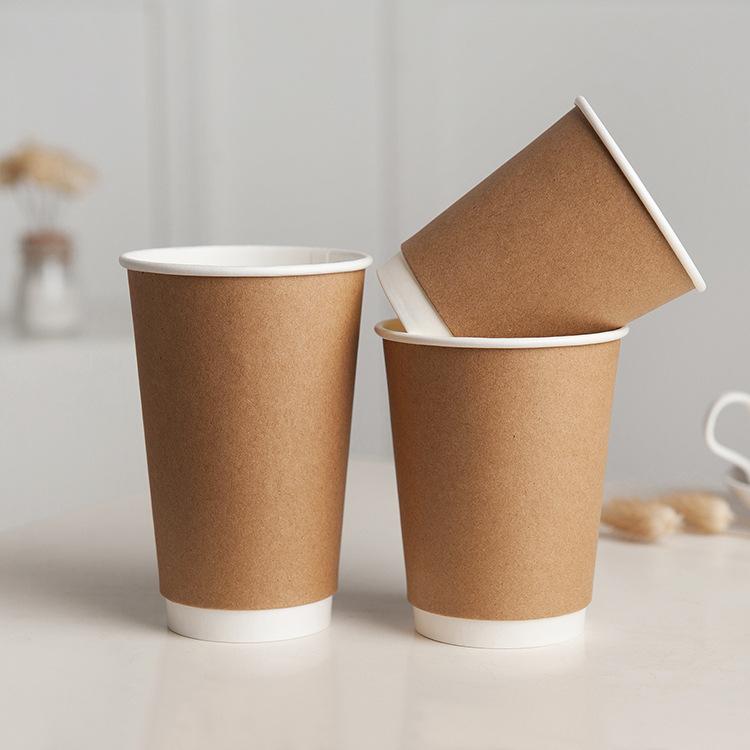 Pengcheng Ly giấy Dùng một lần Cà phê kraft Uống nóng Cốc rỗng Hai lớp chống bỏng Cà phê Sữa Trà Trà