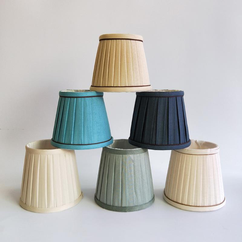 Máng chụp đèn Trung Quốc đèn chùm vỏ vỏ e14 vít miệng vải chụp đèn đơn giản phụ kiện vải lanh Địa Tr