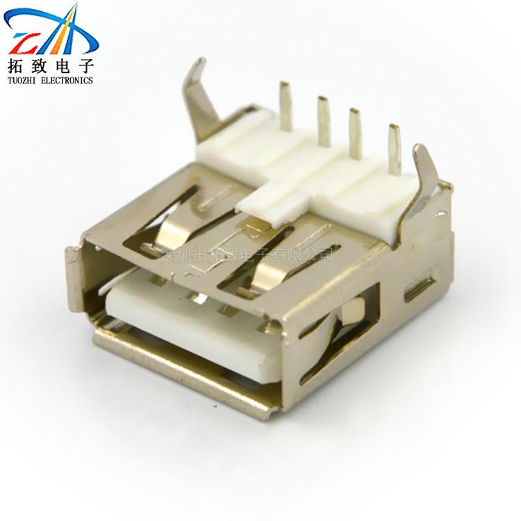 TZ Giắc nối Nhà máy chỉ đạo một nữ cong 90 độ USB ghế nữ AF90 độ trắng bằng sắt kết nối USB ổ cắm US