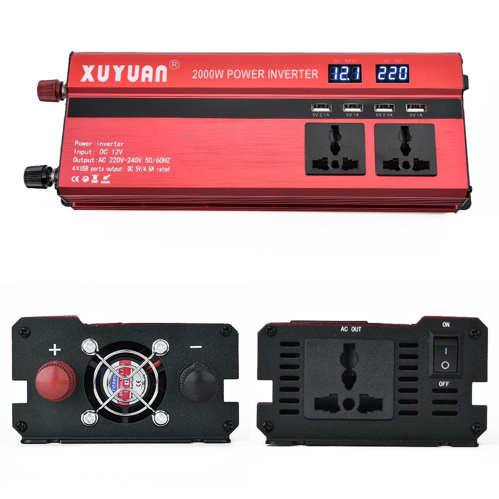 Xuyuan Thiết bị biến áp Biến tần Xuyuan xuyuan 12 v đến 220v2000w với biến đổi hiển thị LED