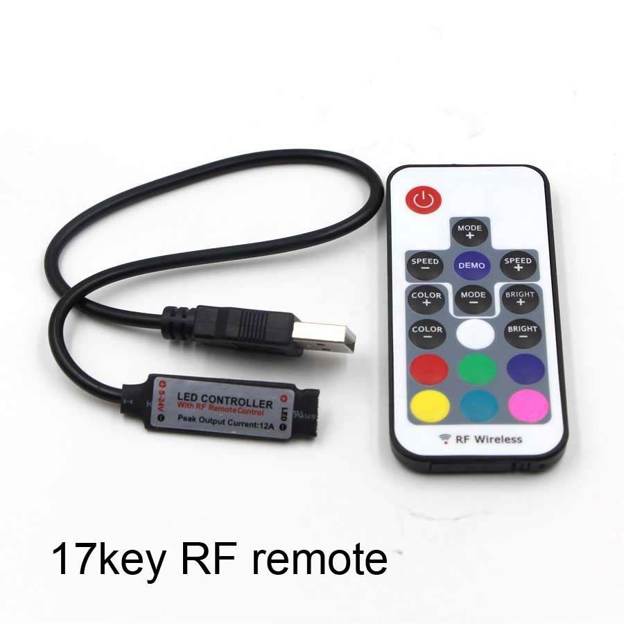 Thiết bị điều chỉnh màu RF 17 phím USB Bộ điều khiển đèn nền TV Bộ điều khiển đèn nền LED RGB đầy mà