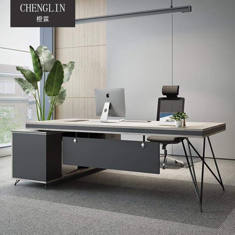 Thị trường nội thất văn phòng Nội thất văn phòng tối giản hiện đại bàn ông chủ và bàn kết hợp quản l
