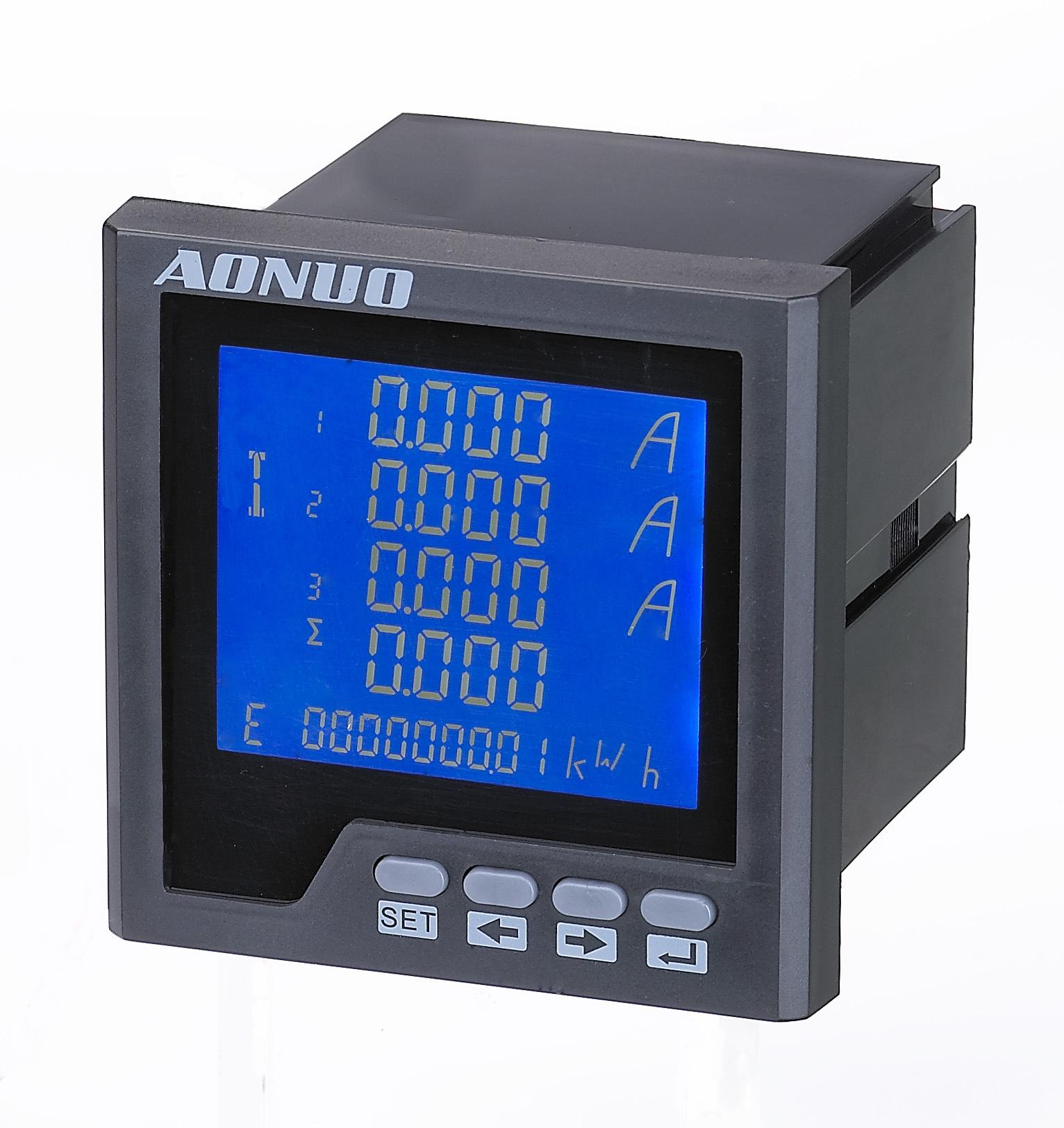 AONUO Đồng hồ đo điện Nhà máy trực tiếp thông minh ba pha LCD đa chức năng hiển thị kỹ thuật số đồng