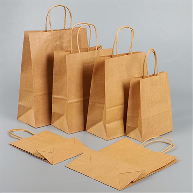 Túi giấy Spot giấy kraft túi takeaway đóng gói túi giấy tote tùy chỉnh quần áo mua sắm giấy kraft tr