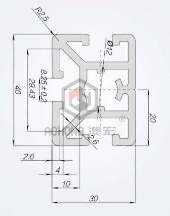 Vật liệu dị dạng  Hồ sơ nhôm công nghiệp 3040B Hồ sơ phụ trợ