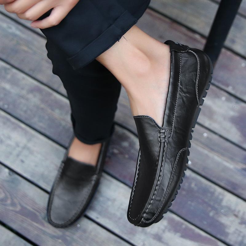 CHUHOU Giày mọi Gommino Mùa xuân mới 2020 Giày đậu Hà Lan Giày da nam đế mềm đế mềm Giày nam đế bệt