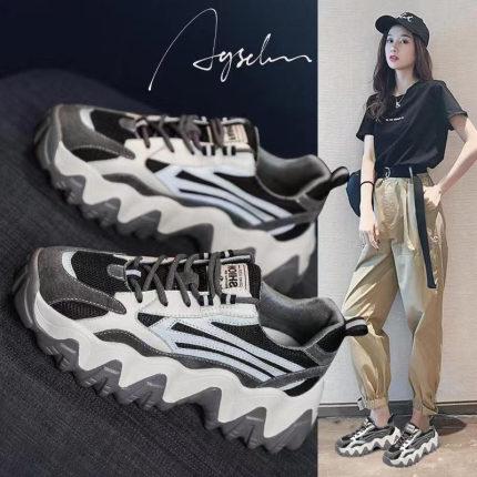 giày bánh mì / giày Platform Giày lưới nữ cha 2019 xuân mới giày lưới màu đỏ siêu nóng hoang dã dày