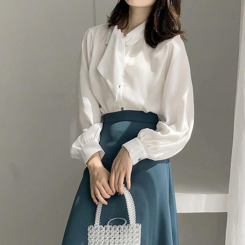 APXIVI tay dài Phiên bản Hàn Quốc của áo sơ mi cổ trụ ren lỏng lẻo nữ áo dài tay 2020 mùa xuân áo mớ