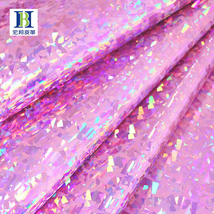 HONGBANG Simili tổng hợp Bán buôn laser không nhăn nhăn da pu kim loại kính vỡ laser phản quang đầy