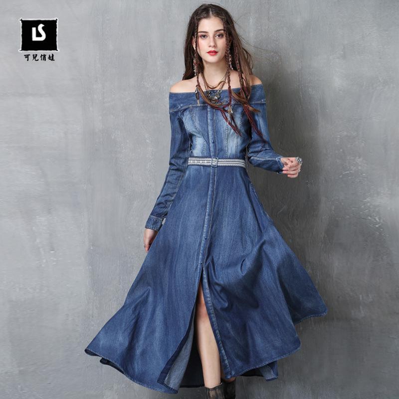 LIAOSHI KEER QIAOWA Đầm Thương hiệu quần áo nữ 2020 mùa xuân phong cách mới cổ áo thêu váy denim ret