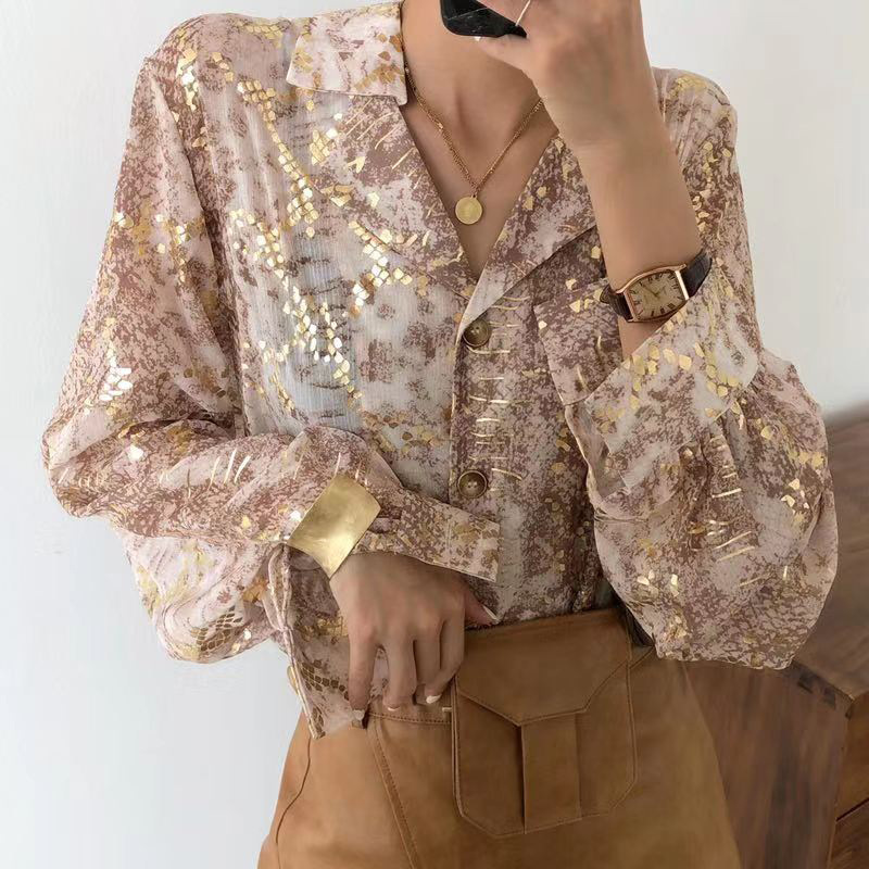 RONGHUI tay dài Mùa xuân và hè hè thời trang mới dành cho nữ Phụ nữ Hàn Quốc một cửa hàng Áo sơ mi d