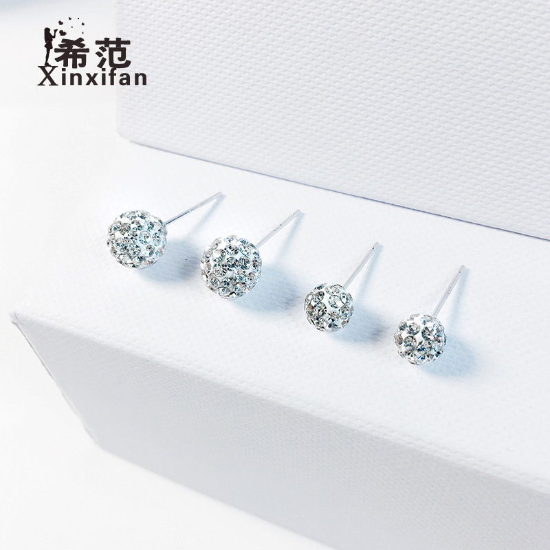 Phụ kiện thời trang s925 sterling bạc shamball bóng bông tai nữ đầy đủ kim cương sáng bóng tinh tế t