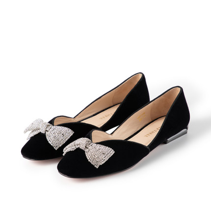 Laber Three Giày cô dâu  Giày Laber Ba Giày cao gót Giày nữ 20 Mới rhinestone Velvet Bow Thấp gót Ti