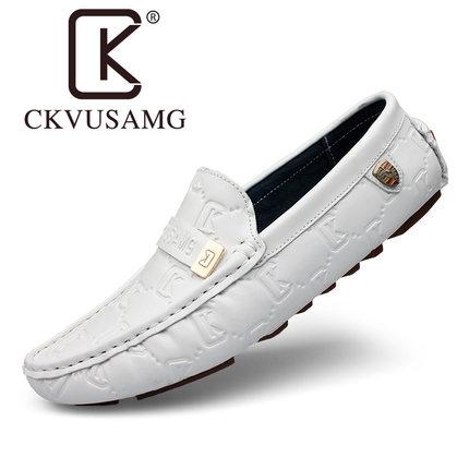 CKVUSAMG  Giày mọi đế thấp 2020 giày nam màu đỏ mới mùa xuân và mùa thu bằng da thông thường Giày đế