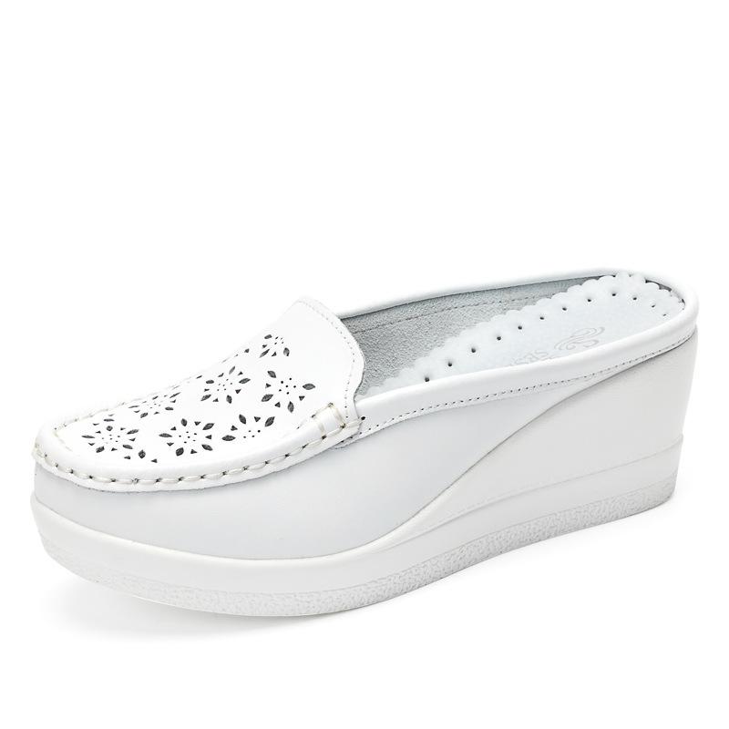 SSDT Giày bánh mì Mùa hè da rỗng nửa giày nữ kéo Baotou bánh xốp giày nêm gót lười lười giản dị 8803