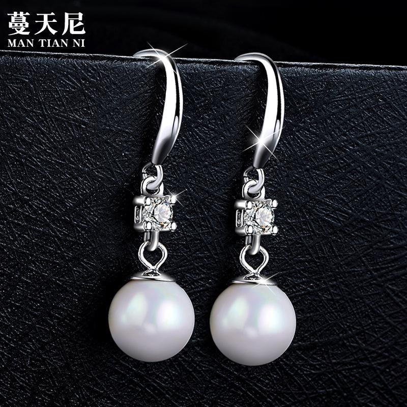 MANTIANNI Thời trang Hàn Quốc OL khí chất s925 sterling bạc kim cương ngọc trai bông tai móc tai