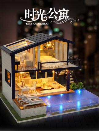 Zhiquya Đồ chơi sáng tạo  tự làm túp lều thời gian căn hộ thủ công sáng tạo lắp ráp mô hình đồ chơi