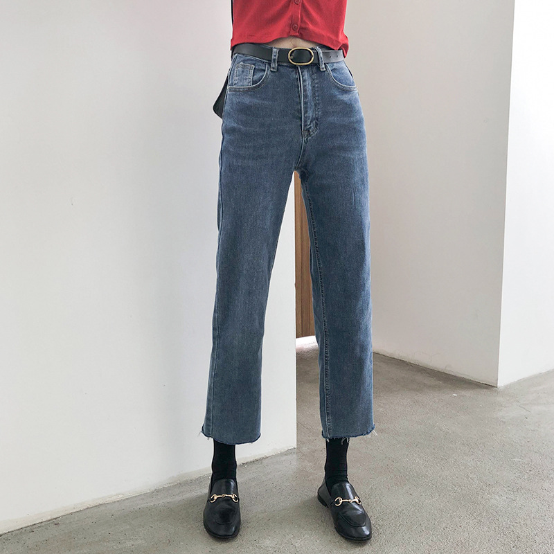 APXIVI quần Jean [Geming] 2020 quần jeans rách mới mùa xuân Hàn Quốc eo cao thon gọn là quần chín đi