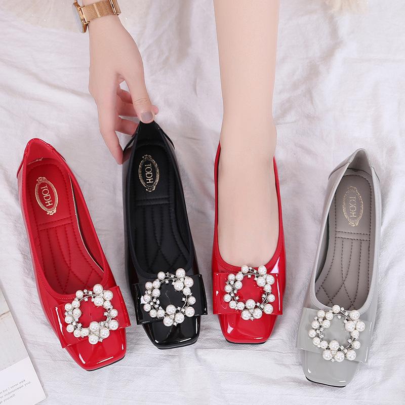 JIASUER Giày cô dâu 2020 mùa xuân mới miệng cô dâu giày bằng sáng chế da rhinestone giày cưới ngọt n