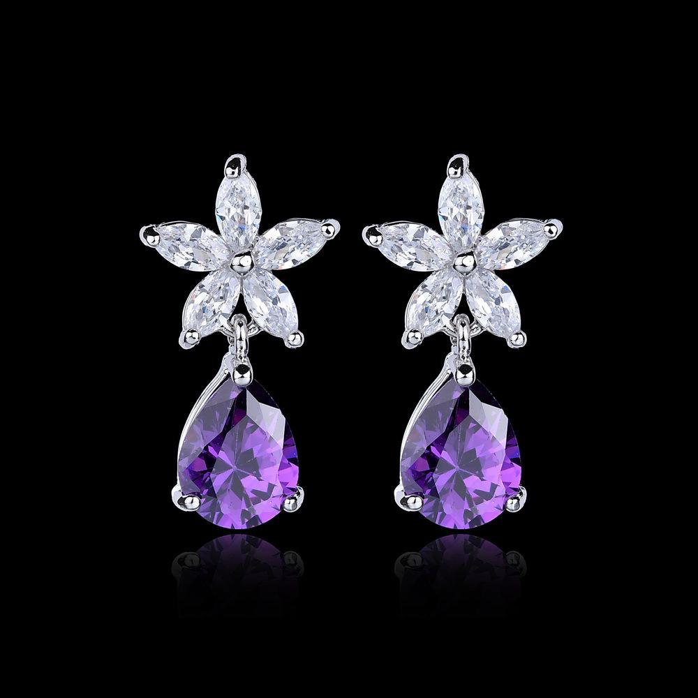 Qingxing Phụ kiện thời trang Hàn Quốc Drop Hoa Ear Stud Bông tai Trang sức Thời trang Dát AAA AAA Ph