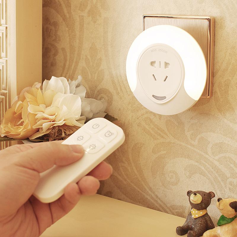 Đèn điện, đèn sạc Đèn cắm điện điều khiển từ xa led điều khiển ánh sáng ban đêm với công tắc ổ cắm m