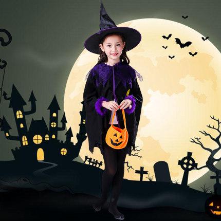 Dousuces Áo choàng trẻ em  Halloween trang phục trẻ em cô gái áo choàng bí ngô áo choàng phù thủy tr