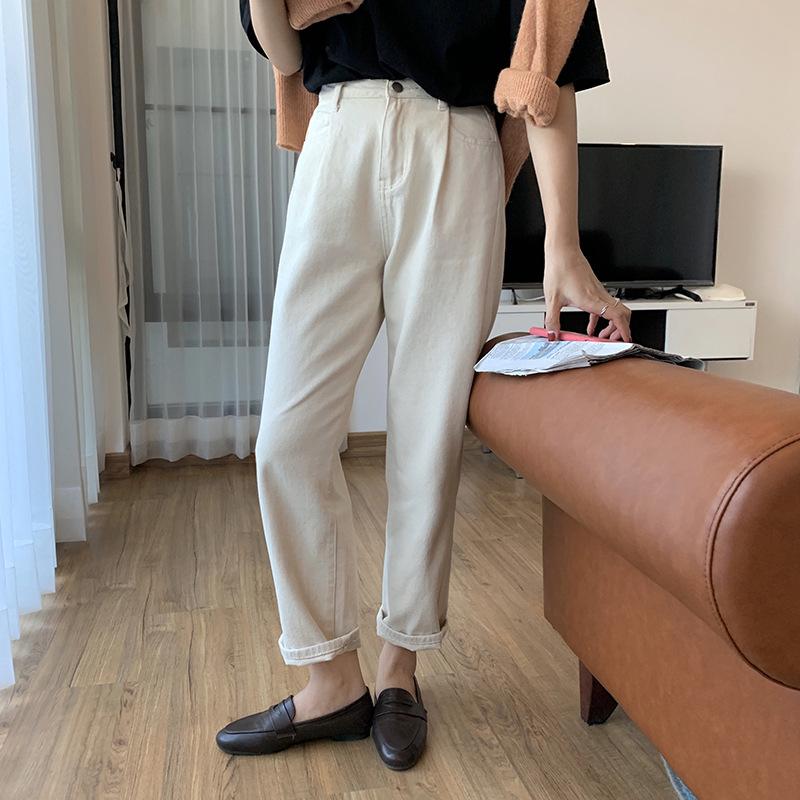 Hooozen Thời trang Quần cạp cao cạp cao cạp cao cộng với quần nhung thẳng 2020 xuân Hàn Quốc quần âu