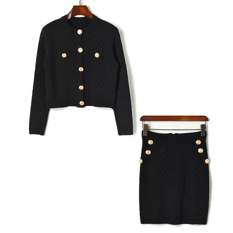 ZIDARN Đồ Suits 19 nút nhang nhỏ hình thoi kim cương hình thoi ngắn áo len cardigan dây kéo túi đeo