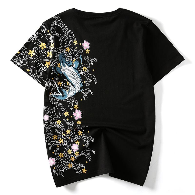 Áo thun Mùa hè Nhật Bản thương hiệu phong cách Trung Quốc cá chép phong cách quốc gia thêu cá tính r