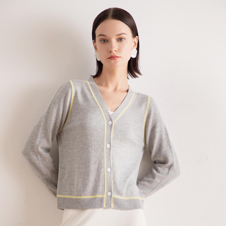 Áo khoác Cardigan Áo len mùa thu 2019 màu tương phản mới của phụ nữ áo len nữ cổ chữ V dài tay với p