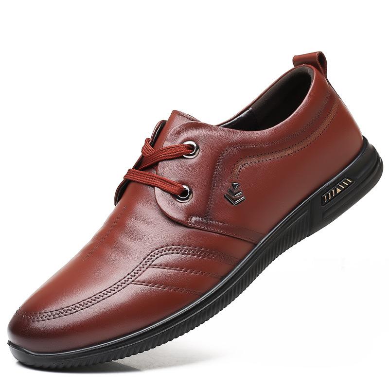 QIANGZU Giày da nam có dây đeo bằng da, đầu tròn, đế mềm, đế mềm, chống trơn, giày đơn