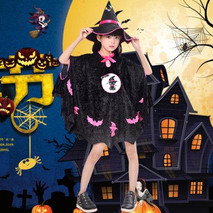 Qi Shenger Áo choàng trẻ em  Trẻ em Halloween trang phục mèo đen áo choàng nữ yêu tinh váy phù thủy