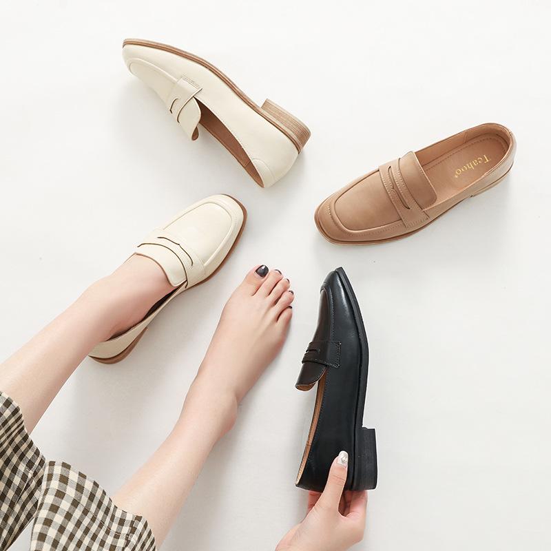 TEAHOO Giày Loafer / giày lười Lisheng TEAHOO2019 mùa xuân và mùa thu mới giày đế vuông đi giày đế b