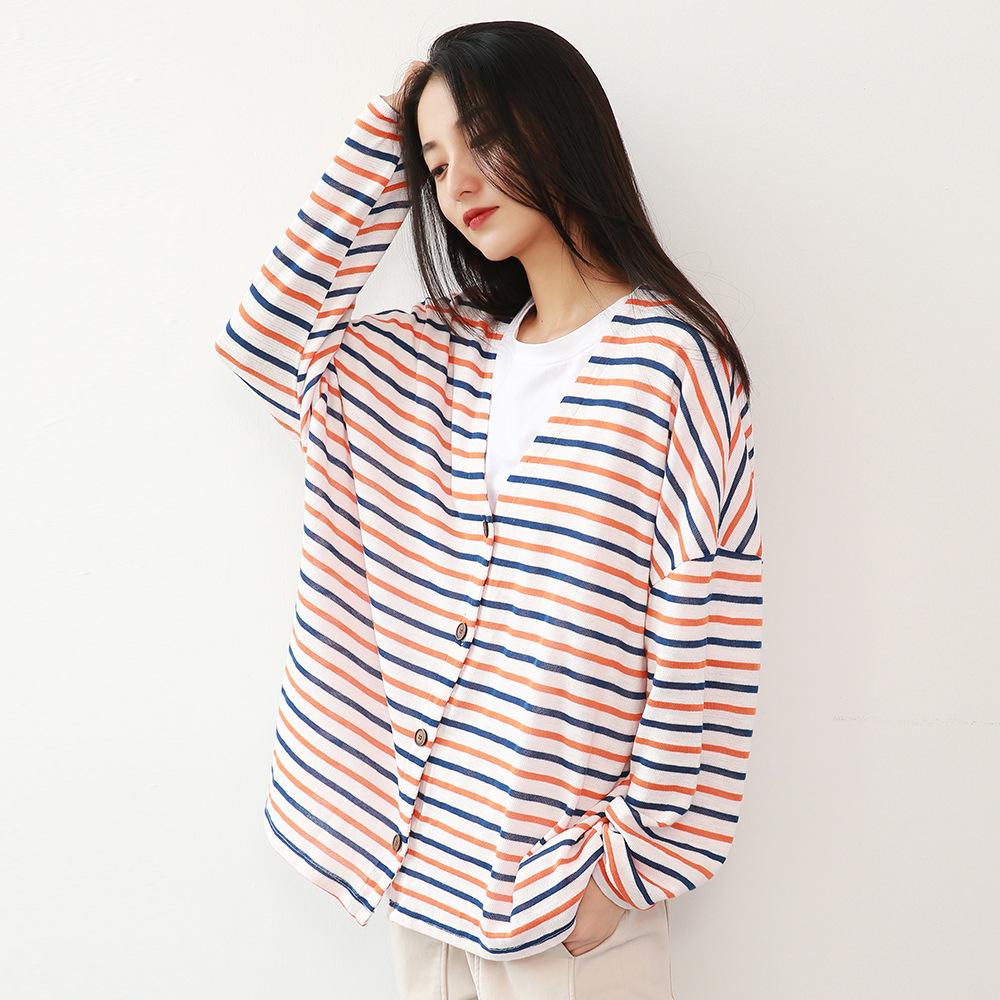 LYAD Áo khoác Cardigan Áo len sọc nữ 2019 mùa thu mới áo len cardigan nữ mỏng nhỏ sơ mi đáy mới