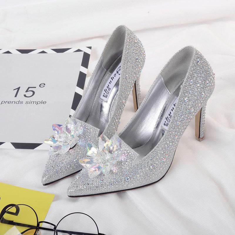 SMALL WOW Giày cô dâu 2018 xuân hè thu mới châu Âu và Mỹ thoải mái giày cao gót rhinestone Cô bé lọ