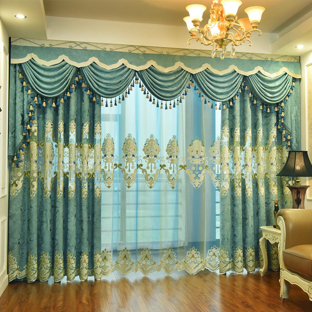 Vải rèm cửa Rèm vải nhà máy bán trực tiếp phong cách châu Âu chenille rèm vải phòng khách thêu rèm c