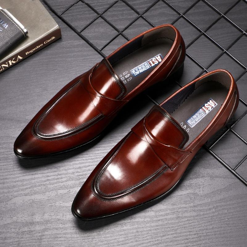 ASTON M.JAZZ Giày cô dâu Mùa xuân và mùa đông da mới chính hãng Giày công sở retro của Anh Giày đơn