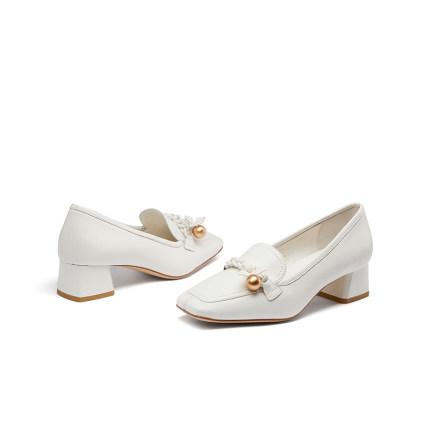 Giày mọi Gommino  2020 mùa xuân mới Giày beanie Anh chân vuông gót vuông Giày đơn gót TA10111-12