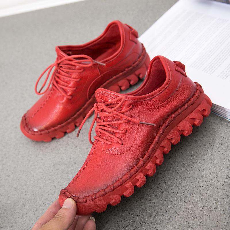 Giày lười / giày mọi đế cao Mùa Thu / Đông 2019 mới giày đế mềm nữ AliExpress giày da cỡ lớn có dây