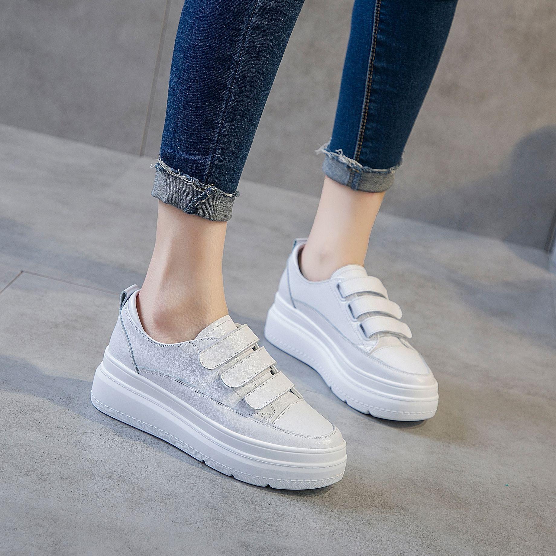 BRYX giày bánh mì / giày Platform 2019 mới mùa xuân và mùa hè da velcro nhỏ màu trắng Phiên bản Hàn