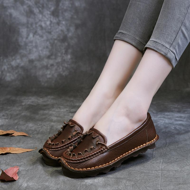 Giày bệt da gân mềm đế giày bằng dành cho phụ nữ .