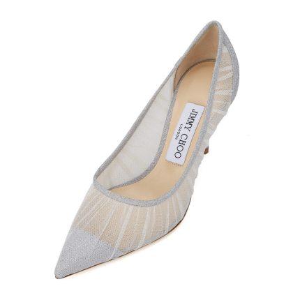 Jimmy Choo Giày da một lớp  Jimmy Choo Zhou Yangjie LOVE85 vải tuyn màu bạc kim loại lấp lánh giày c