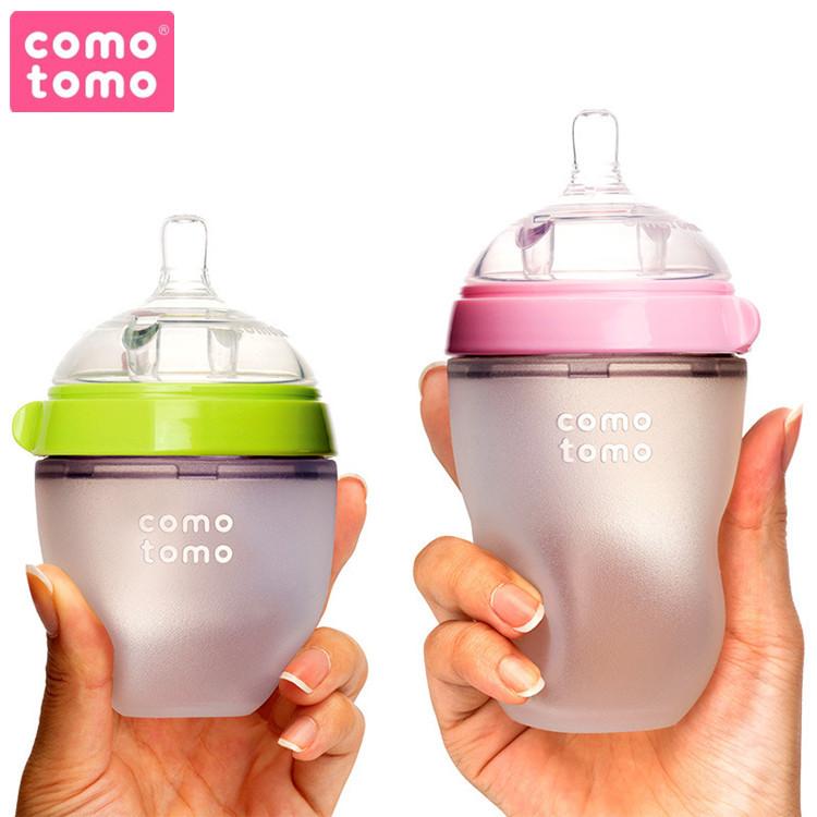 Comotomo Đồ dùng sơ sinh Bình sữa trẻ em comomo silicon có đường kính rộng chống rơi đầy hơi cho bé